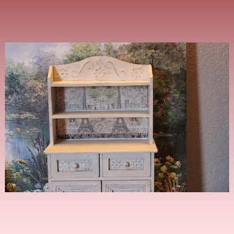 """Doll cupboard, wood for your antique doll!  Wood and tin embellished doors, drawers, 16 1/2"""" tall X 10 1/4"""" wide X 4 1/4"""" in size."""