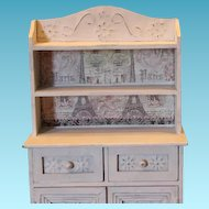 "Doll cupboard, wood for your antique doll!  Wood and tin embellished doors, drawers, 16 1/2"" tall X 10 1/4"" wide X 4 1/4"" in size."