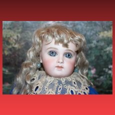 "French Antique Early Almond Eye cut Portrait  Jumeau Bebe Doll, original cork pate and spring mechanism still intact!  15 1/2"" tall in size! Spiral Threaded eyes!"