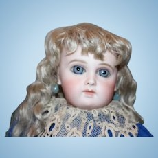 """French Antique Early Almond Eye cut Portrait  Jumeau Bebe Doll, original cork pate and spring mechanism still intact!  15 1/2"""" tall in size! Spiral Threaded eyes!"""