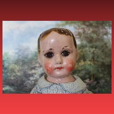 "Antique Early  Ella Smith Alabama Baby, Indestructible Oil Cloth painted doll, circa 1910, 18 3/4"" tall in size. repair on side of head and painted fingernails."