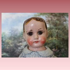 """Antique Early  Ella Smith Alabama Baby, Indestructible Oil Cloth painted doll, circa 1910, 18 3/4"""" tall in size. repair on side of head and painted fingernails."""
