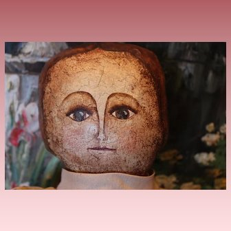 """Oil hand painted sawdust stuffed 1989 doll with brown skirt and cream blouse. 16 1/2"""" tall. Faux bun in back of head by Jeannie B."""