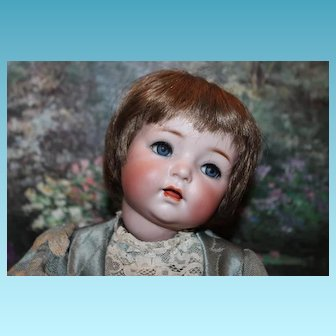 German Antique Simon & Halbig, Doll #121 on Toddler Body! No hairlines, breaks or repairs. Blue glass sleep eyes, eyelashes, sleepeyes. So Cute!