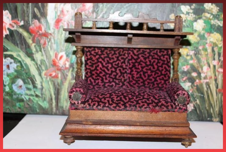 Click to expand - Antique German Wood Couch, Settee, For Your Doll House, Furniture