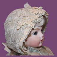 "French antique Doll's Lace and silk ribbons doll bonnet for a 14-15"" head circumference! Great condition! Doll hat"