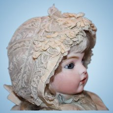 """French antique Doll's Lace and silk ribbons doll bonnet for a 14-15"""" head circumference! Great condition! Doll hat"""