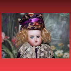 """German Antique Bisque head doll, 6 1/2"""" tall, unknown maker, no hairlines, sleep eyes."""