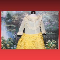 Lots of Ruffles on the Adorable Shirley Temple type doll dress with  many layers on this Yellow ribbons ruffle layers doll dress, and slip and pantaloons are cotton with 6 layers of ruffles trims! Antique or vintage doll dress!