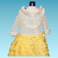 Adorable  many layers on this Yellow ribbons ruffle layers doll dress, and slip and pantaloons are cotton with 6 layers of ruffles trims! Antique or vintage doll dress!