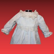 """Cotton Doll dress, cotton slip, pink and blue machine embroidery, for an 18"""" tall doll, doll clothes"""