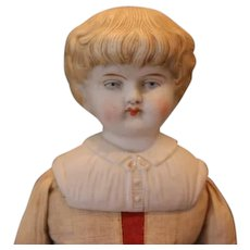 """German  bisque Shoulderhead, Parian type doll, 14 1/2"""" tall, old cloth body with bisque hands and china boots with bows. Great face!"""