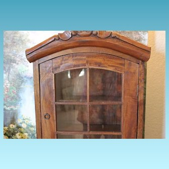 "Solid wood doll display case with glass & wood doors. Great for doll display!! Can hang on the wall. 22 1/2""X15X 5 1/4"" deep in size."