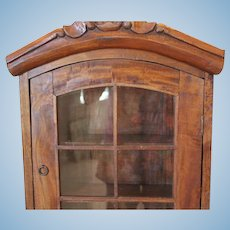 """Solid wood doll display case with glass & wood doors. Great for doll display!! Can hang on the wall. 22 1/2""""X15X 5 1/4"""" deep in size."""
