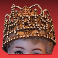 Doll's Royal Paris metal crown, rhinestones, Eiffel tower, perfect for displays or for your large doll heads!