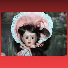 """Jules Verlingue French Bebe bisque head doll, Petite Francaise, Anchor mark, France 3/0, 8 3/4"""" tall"""