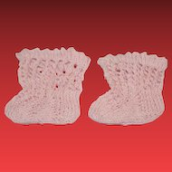 """New pair of doll pink hand Cotton knitted socks for 1 6/8"""" wide in length. 2 inches tall in size."""