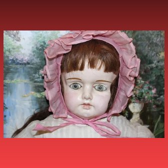 """Large 30"""" tall German Papier Mache Antique doll! Gorgeous face!"""