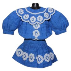 "Antique/vintage  great Royal Blue Cotton doll dress with embroidered flowers all over. Should fit a 10-12"" tall antique doll!"