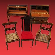 Shackman Wood Doll Furniture set, roll top desk, lift top desk, 3 chairs,  2 Shackman chairs, 1 unmarked chair. Great for your doll house!