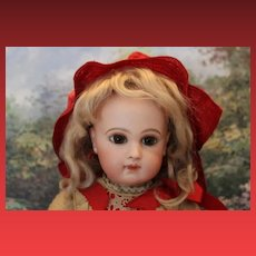 "Beautiful 17"" tall E. J. Jumeau French Antique Doll Marked Jumeau Leather shoes, Silk dress and red silk bonnet!"