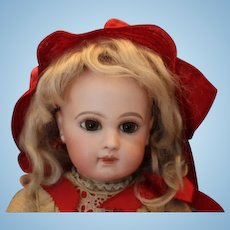 """Beautiful 17"""" tall E. J. Jumeau French Antique Doll Marked Jumeau Leather shoes, Silk dress and red silk bonnet!"""