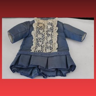 "Sweet little Blue Moire fabric doll dress, lined for an 11"" tall doll! Antique Lace trim, for a Bru, Jumeau or other antique French doll!"
