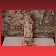 """Small Antique German all bisque """"Pin Doll"""" with 17 antique Doll Pins for doll clothes or dresses! Very Fun!!"""