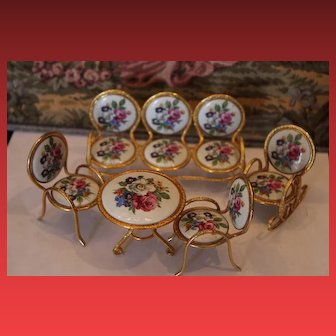 Metal and porcelain doll house miniature furniture set for your dolls, doll or doll house!