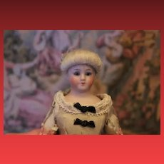 "9"" Simon & Halbig all bisque #1160 Little Women bisque doll, bisque hands and legs, Original silk melted costume!"