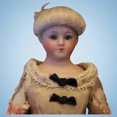 """9"""" Simon & Halbig all bisque #1160 Little Women bisque doll, bisque hands and legs, Original silk melted costume!"""
