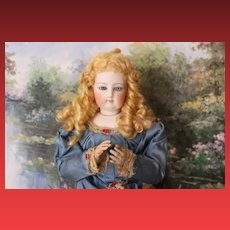 """17 1/2"""" All Wood body french fashion Jumeau doll, #4 incised  French bisque head, no hairlines. Rare find! Mohair wig! cork pate! RARE!"""