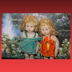 Italian Lenci Set of 2 antique Felt Dolls!  Sweet Sisters!