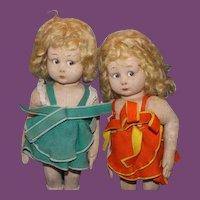 Italian Lenci  type  Set of 2 antique Felt Dolls!  Sweet Sisters!