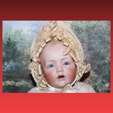 "Sweet Little 15"" long Kestner German Baby Hilda, bisque head Antique Baby Doll! Replaced lower legs."