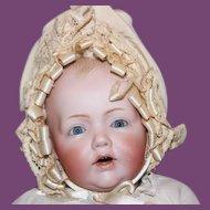 "Sweet Little 15"" long Kestner German Baby Hilda, bisque head Antique Baby Doll! Replaced lower legs."