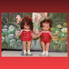 Judy Ann, Nancy Ann Storybook Dolls, Jointed versions, Can sit! Brother Sister set! White boots, matching outfits!