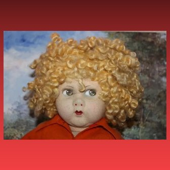 Large 1920's 1930's Felt by Messina Vat doll with fading Great hair!!