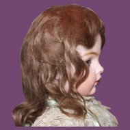 "Great  brown antique mohair doll wig! Fits an 11"" head circumference. Full  mohair wig. No bangs."
