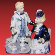 Figurine of couple, made in Japan, Blue & white theme. Collectible Porcelain Figurine