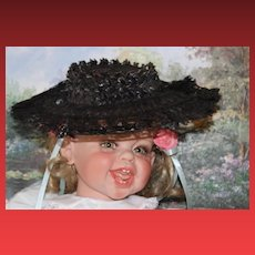 "Great antique Black Lace bonnet, hat wired doll hat, 11"" across in size! Doll hat."
