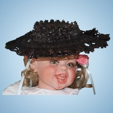 """Great antique Black Lace bonnet, hat wired doll hat, 11"""" across in size! Doll hat."""