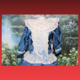 """11 1/2"""" long silk rayon doll dress for a 17"""" tall doll, Blue dress with lace trims for your Antique dolls! Never used!!"""