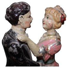 Vintage Tin metal Antique Dancing couple, waltzing, Vintage toy. Antique Folk Art.