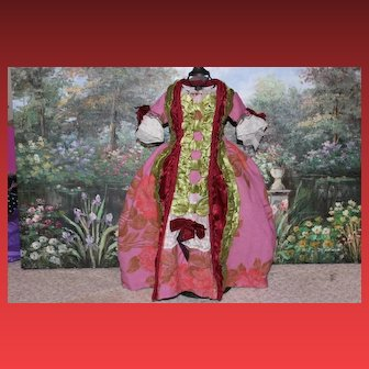 """Marie Antoinette style doll dress for a 22"""" tall doll! Bustle included! Historic styling!"""