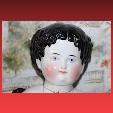"Large pretty  Antique China Head doll with center part and curls on the sides! Beautiful Doll! 22-23"" tall!"