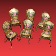 Antique French Enamel Miniature Doll chairs, set of 6!