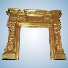 Gold painted Doll House fireplace mantle surround! Doll house furniture