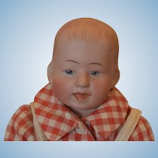 """Gebruder Knoch Character Boy Doll with smile and 2 teeth! 11 1/2"""" tall Wood arms and wood legs, stuffed body!"""