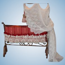 French Metal Antique Baby Canopy Dolls Bed, not Huret, but same company made this bed!! On Layaway from Hawaii